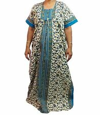 """Cotton Maxi Dress Floral Print Indian Style Long Nighty Gift for Women Size 54""""L"""