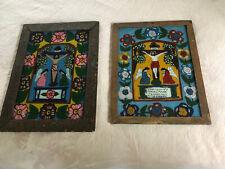 Folk Art Reverse Glass Painting Religious Polish Russia Icon Antique Jesus Angel