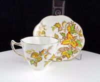 """ROSINA #4841 AUTUMN LEAVES GOLD RIMMED DEMITASSE 2 1/8"""" CUP AND SAUCER SET"""