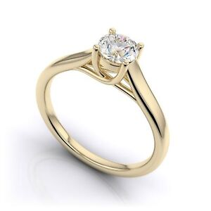 2CT 4 Prong Round Diamond Trellis Solitaire Engagement Ring 9K Yellow Gold Over