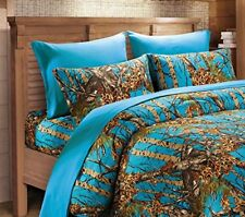 SEA BREEZE CAMO SHEET SET!! QUEEN SIZE BEDDING 6 PC CAMOUFLAGE BLUE WOODS