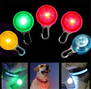 Puppy Pet Dog Cat LED Flashing Collar Tag Clip Buckle Safety Night Light Pendant
