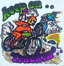 Original Vintage Keep On Trackin' Iron On Transfer Motocross Motorcycle