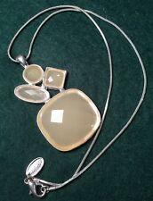 Retro Revival Modernist Next Lemon beige cut resin pendant silver metal Necklace