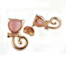 Fashion Jewelry - 18k Rose Gold Plated Cat Stud Earrings (FE410)