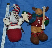 Over Sized Sking Santa and Moose Ornaments