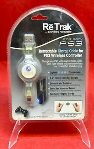 New in Box Sealed Re-Trak Retractable Charge Cable PS3 Wireless Controller #4914