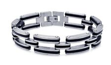 BRACELET MEN'S STAINLESS STEEL BIKER STYLE W/ BLACK RUBBER   / 9'' LONG/