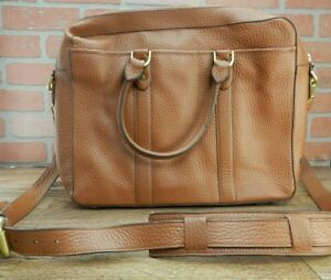 *COLE HAAN Attache Saunders Case Brown LAPTOP BAG Leather Briefcase