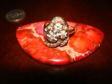 Amazing Vintage 14K SOLID YELLOW GOLD & NATURAL-GENUINE DIAMONDS Ring.Sz-7.5