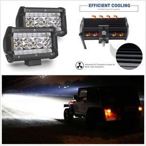"1 Pair Quad Row 5"" Spot Flood Combo LED Lights 168W Car Work Lights Driving Lamp"