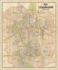 Jewish Ghetto WWII 1942 Map Second Largest Lodz Poland German Litzmannstadt 4818