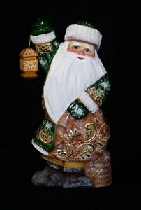 RUSSIAN WOODEN SANTA  w/Lamp on Stump Hand Carved/Painted #1032.18 in Green