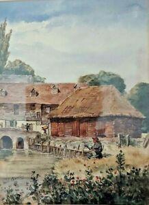 ABBEY MILL CHERTSEY  originally known as oxlake mill watercolour 1876