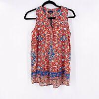 Tolani Womens Tank Top 100% Silk Size Small Colorful V Neck Sleeveless