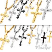 Edelstahl Halskette Kreuz Anhänger silber gold schwarz Königskette Damen Herren