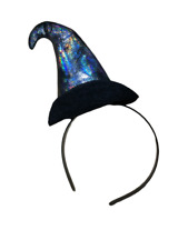 Halloween Witch Hat Shiny Silver Headband Fancy Dress