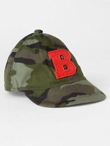 """GAP Baby Boys Size 0-6 Months Safari / Camo / Green """"B"""" Baseball Hat Cap"""