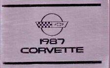 1987 Chevrolet Corvette Owners Manual User Guide