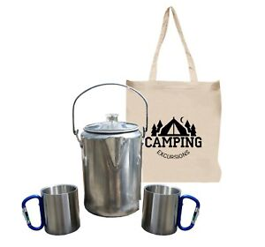 Camping Coffee Pot Set with 2 Carabiner Mugs and Carry Bag