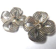 "Vintage AR Designer 1 7/16"" 14K Gold & Sterling Silver Bow Clip On Earrings"
