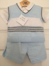 Emile et Rose Cole knitted stripe tank top white shirt,blue linen trouser set 3m