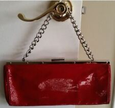PERLINA NY Women's Evening Fashion Leather Handbags Purse Clutch, Bright Red NWT