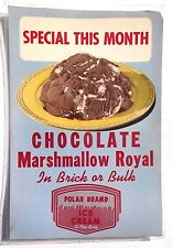 Vtg Chocolate Marshmallow Roya Ice Cream Advertising Sign / Poster / Lithograph