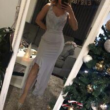 BNWT Lipsy Purple Grey Frill Split Crochet Lace Appliqué Maxi Dress Ball Gown 12