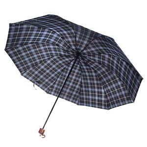 Men's 10 Ribs Plaid Travel Sun Rain Windproof Compact Folding Anti-UV Umbrella
