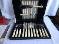 Vintage Silver Plated Fish Knives, Forks & Servers by T Turner Sheffield Cased