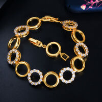 CWWZircons Yellow Gold Round Cubic Zirconia Hollow out Bridal Wedding Bracelets