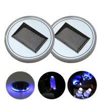 2pcs Auto Solarenergie Cup Halter Bottom Pad LED Dekoration Licht Trim Zubehör