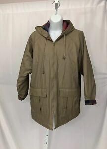 Women's Vintage Misty Harbor Beige Jacket Hooded Rain Coat Plaid Lining Medium