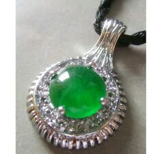 Green Jade Gemstone Alloy Metal Pendant Jewelry-28mm*18mm