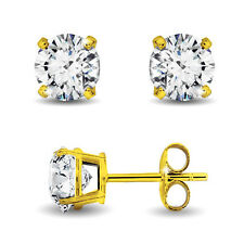 0.50Ct Natural Diamond Stud Earrings in 14K Yellow Gold