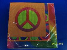 60's Decades Hippie Woodstock Peace Sign Groovy Retro Party Beverage Napkins