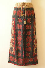 Gothic Hippie Gypsy Patchwork Renaissance Heavily Embroidered Long Skirt - L