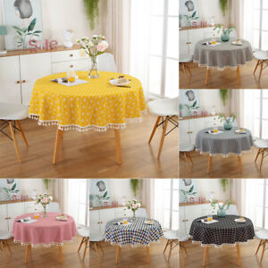Wedding Party Cotton Linen Round Tablecloth Geometric With Tassel Simple