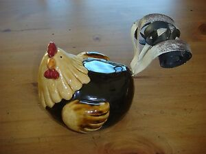 Ceramic Hen/Rooster/Chicken with Metal Tail - Glossy Rustic Design