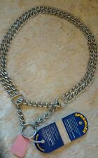 HERM SPRENGER TWIN 2MM CHAIN MARTINGALE Dog COLLAR STEEL POLISHED CHROME sml