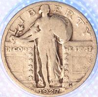 1927 S STANDING LIBERTY QUARTER, BETTER CIRCULATED, SHARP, ORIGINAL, EARLY DATE!