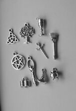 Wiccan Pagan Charms Set of 10, Tibetan Silver,Cauldron,Goddess,Athame,Triquetra
