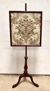 Antique Cherry Victorian Fire Pole Screen Stand w Tapestry