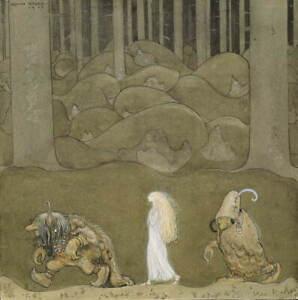 John Albert Bauer The Princess And The Trolls Giclee Paper Print Poster