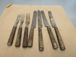 Lot Antique Inlaid Civil War Era Flatware Forks & Knives