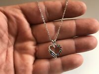 HEART NECKLACE PENDANT W/ MULTI- COLOR LAB GEMS / 925 STERLING SILVER