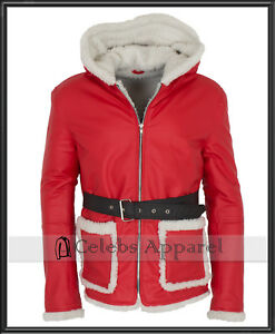 Bad Santa Claus Hooded Winter Leather Christmas Jacket Coat for Mens - All Sizes