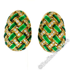 Vintage 18k Yellow Gold Diamond Green Enamel Egg Basket Weave Clip On Earrings