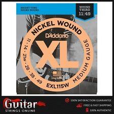 D'Addario EXL115W Medium Daddario Electric Guitar Strings Wound 3rd 11-49 New